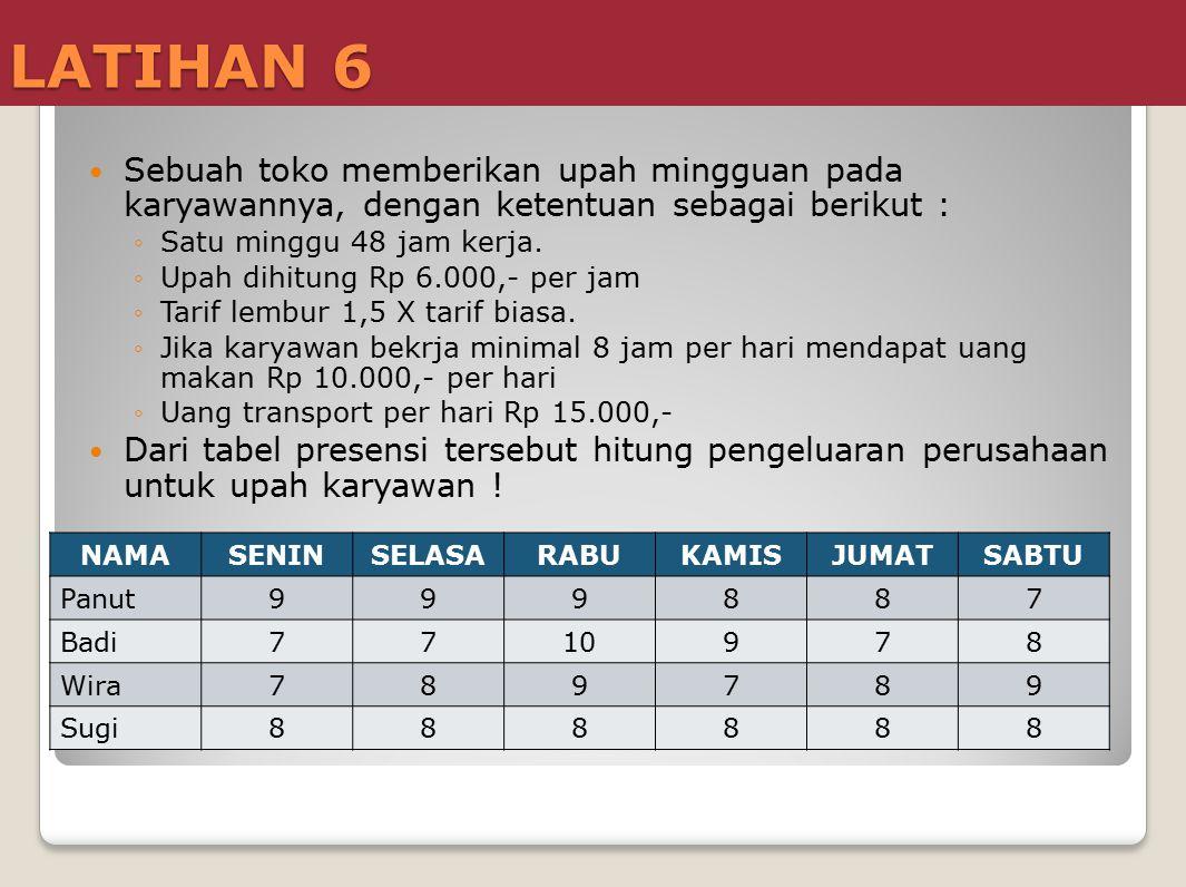 LATIHAN 6 Sebuah toko memberikan upah mingguan pada karyawannya, dengan ketentuan sebagai berikut : ◦Satu minggu 48 jam kerja. ◦Upah dihitung Rp 6.000