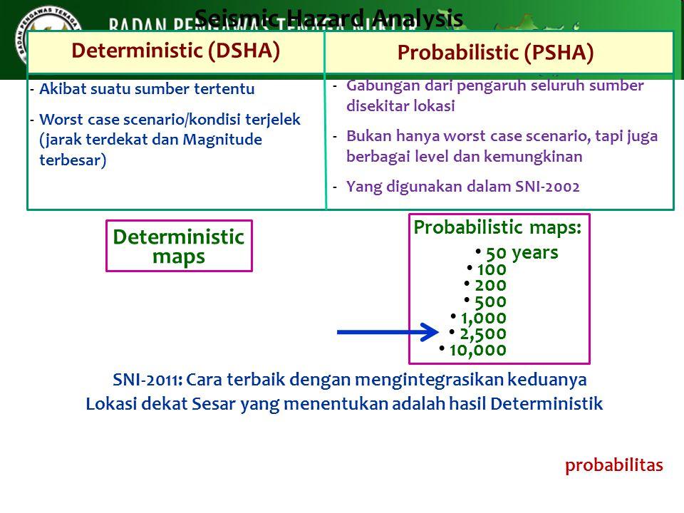 Seismic Hazard Analysis Deterministic (DSHA) Probabilistic (PSHA) -Akibat suatu sumber tertentu -Worst case scenario/kondisi terjelek (jarak terdekat
