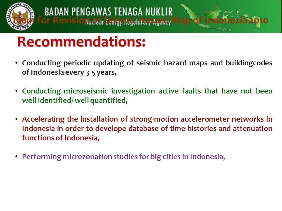 Recommendations: Conducting periodic updating of seismic hazard maps and buildingcodes of Indonesia every 3-5 years, Conducting microseismic investiga