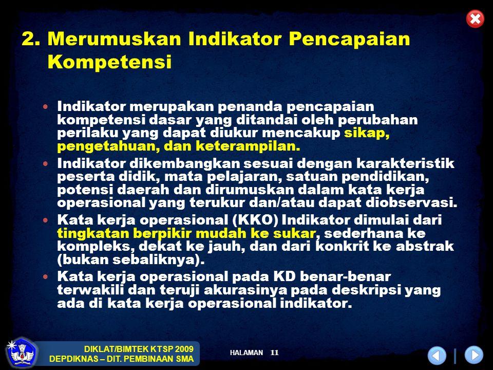 HALAMAN DIKLAT/BIMTEK KTSP 2009 DEPDIKNAS – DIT. PEMBINAAN SMA 11 Indikator merupakan penanda pencapaian kompetensi dasar yang ditandai oleh perubahan