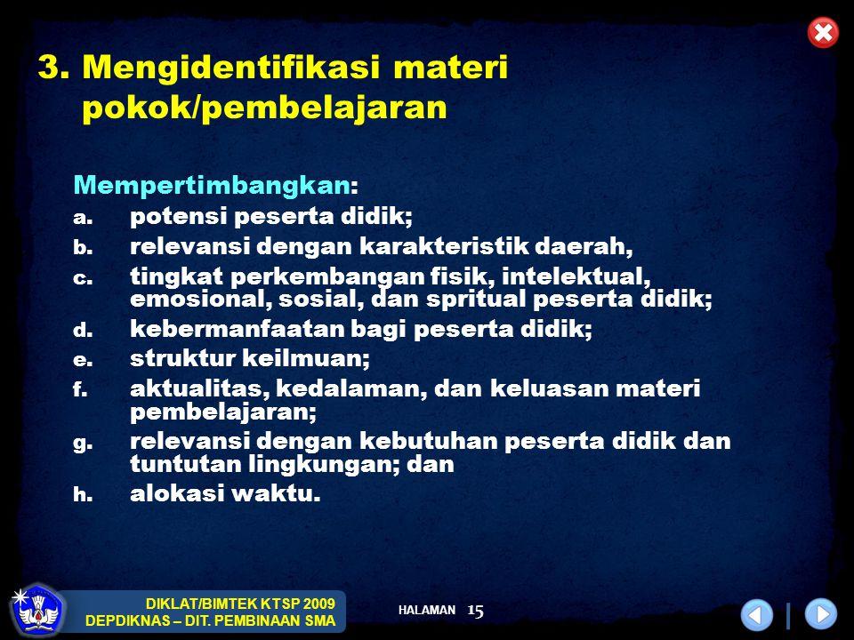 HALAMAN DIKLAT/BIMTEK KTSP 2009 DEPDIKNAS – DIT. PEMBINAAN SMA 15 Mempertimbangkan : a. potensi peserta didik; b. relevansi dengan karakteristik daera