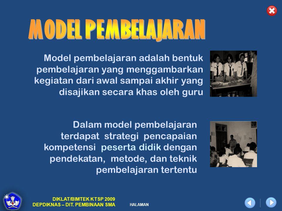 HALAMAN DIKLAT/BIMTEK KTSP 2009 DEPDIKNAS – DIT. PEMBINAAN SMA Model pembelajaran adalah bentuk pembelajaran yang menggambarkan kegiatan dari awal sam