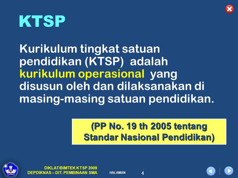 HALAMAN DIKLAT/BIMTEK KTSP 2009 DEPDIKNAS – DIT. PEMBINAAN SMA 4 Kurikulum tingkat satuan pendidikan (KTSP) adalah kurikulum operasional yang disusun