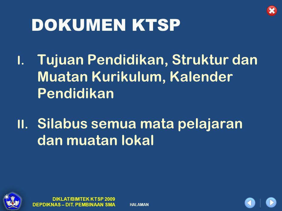 HALAMAN DIKLAT/BIMTEK KTSP 2009 DEPDIKNAS – DIT.PEMBINAAN SMA DOKUMEN KTSP I.