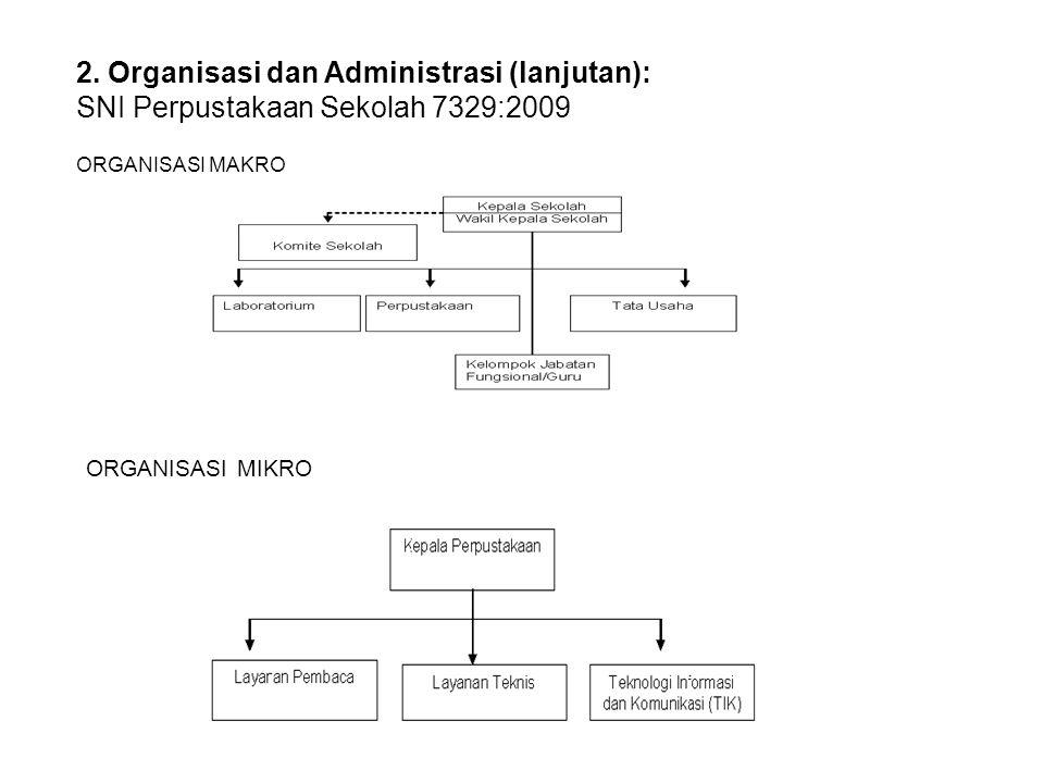 2. Organisasi dan Administrasi (lanjutan): SNI Perpustakaan Sekolah 7329:2009 ORGANISASI MAKRO ORGANISASI MIKRO