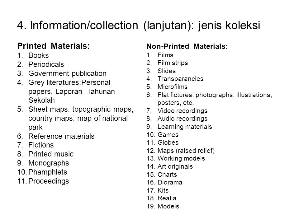 Printed Materials: 1.Books 2.Periodicals 3.Government publication 4.Grey literatures:Personal papers, Laporan Tahunan Sekolah 5.Sheet maps: topographic maps, country maps, map of national park 6.Reference materials 7.Fictions 8.Printed music 9.Monographs 10.Phamphlets 11.Proceedings Non-Printed Materials: 1.Films 2.Film strips 3.Slides 4.Transparancies 5.Microfilms 6.Flat fictures: photographs, illustrations, posters, etc.