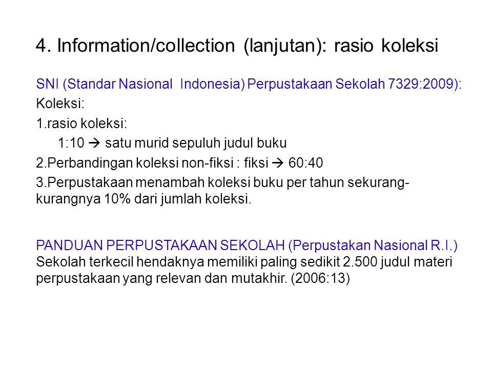 SNI (Standar Nasional Indonesia) Perpustakaan Sekolah 7329:2009): Koleksi: 1.rasio koleksi: 1:10  satu murid sepuluh judul buku 2.Perbandingan koleksi non-fiksi : fiksi  60:40 3.Perpustakaan menambah koleksi buku per tahun sekurang- kurangnya 10% dari jumlah koleksi.