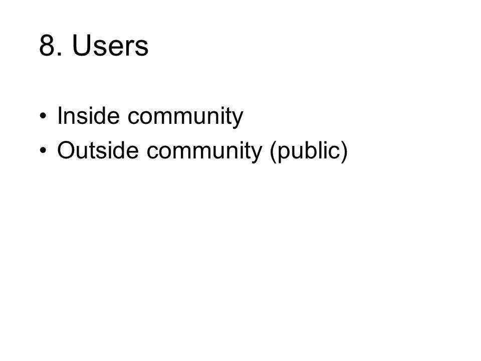 8. Users Inside community Outside community (public)