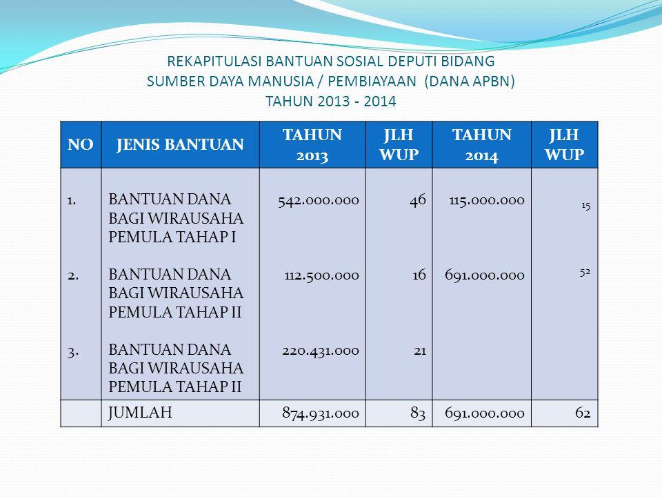 REKAPITULASI BANTUAN SOSIAL DEPUTI BIDANG SUMBER DAYA MANUSIA / PEMBIAYAAN (DANA APBN) TAHUN 2013 - 2014 NOJENIS BANTUAN TAHUN 2013 JLH WUP TAHUN 2014