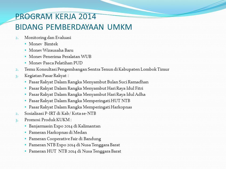 PROGRAM KERJA 2014 BIDANG PEMBERDAYAAN UMKM 2. Monitoring dan Evaluasi  Monev Bimtek  Monev Wirausaha Baru  Monev Penerima Peralatan WUB  Monev Pa