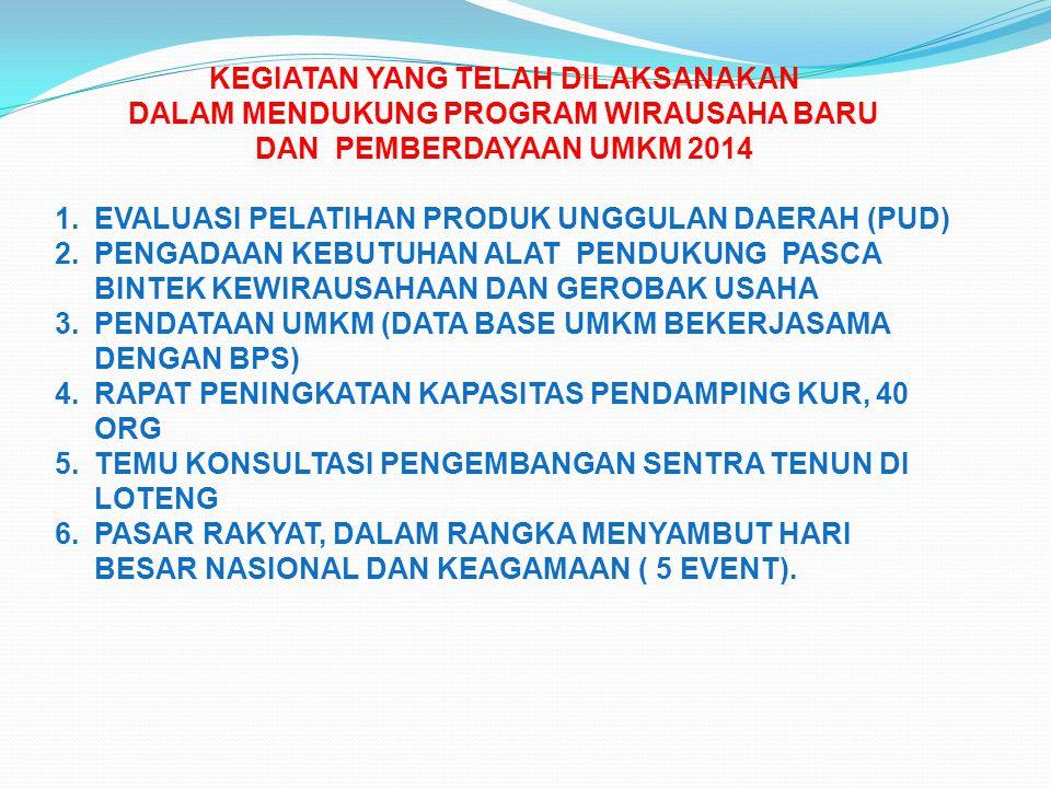 KEGIATAN YANG TELAH DILAKSANAKAN DALAM MENDUKUNG PROGRAM WIRAUSAHA BARU DAN PEMBERDAYAAN UMKM 2014 1.EVALUASI PELATIHAN PRODUK UNGGULAN DAERAH (PUD) 2