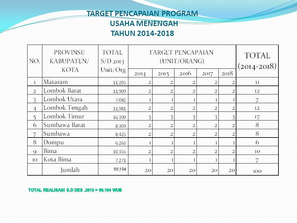 TARGET PENCAPAIAN PROGRAM USAHA MENENGAH TAHUN 2014-2018