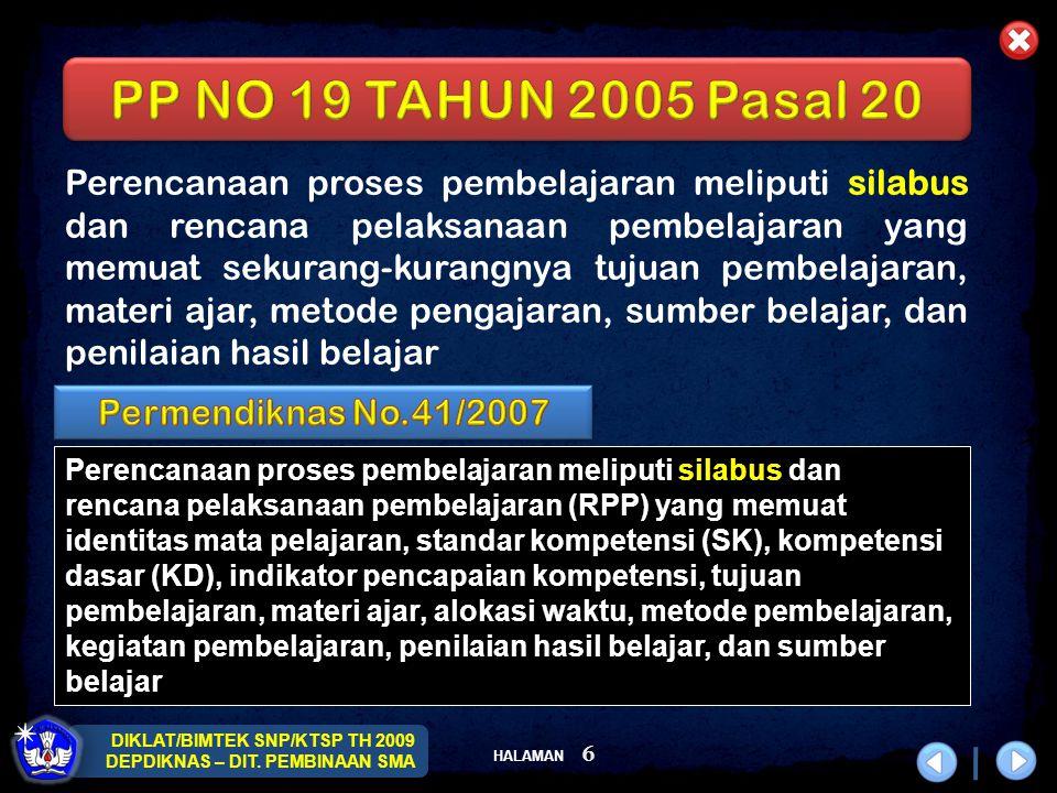 HALAMAN DIKLAT/BIMTEK SNP/KTSP TH 2009 DEPDIKNAS – DIT.