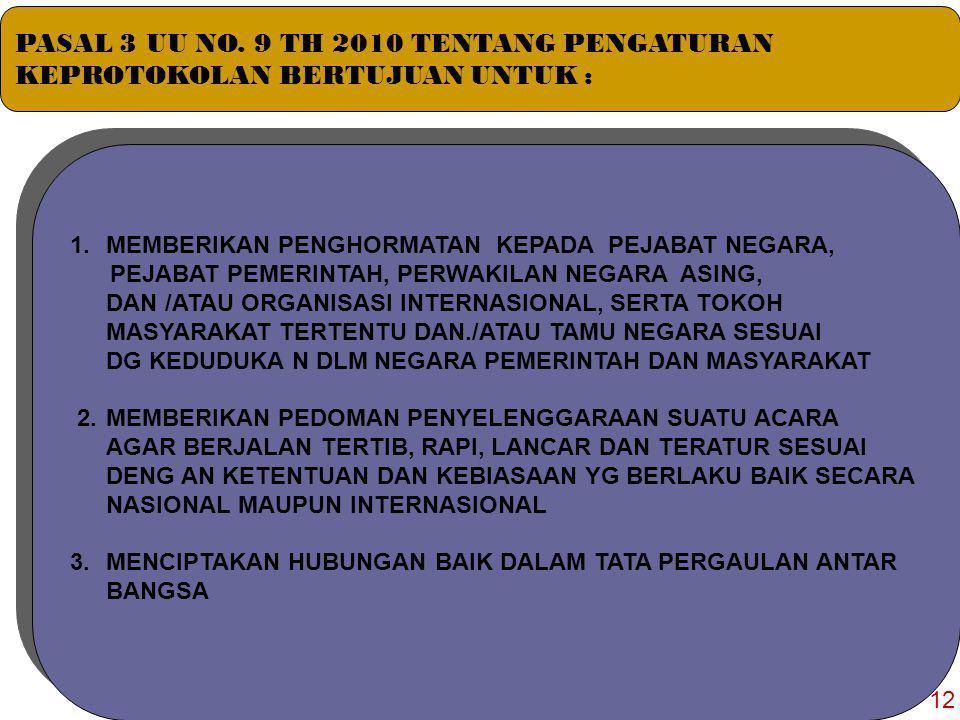 12  Keprotokolan Diatur Berdasar Asas : 1.KEBANGSAAN 2.KETERTIBAN DAN KEPASTIAN HUKUM 3.KESEIMBANGAN, KESERASIAN, DAN KESELARASAN TIMBAL BALIK Asas dan Tujuan Keprotokolan Berdasarkan UU Nomor 9 Tahun 2010 Pasal 2 Tentang Keprotokolan 11
