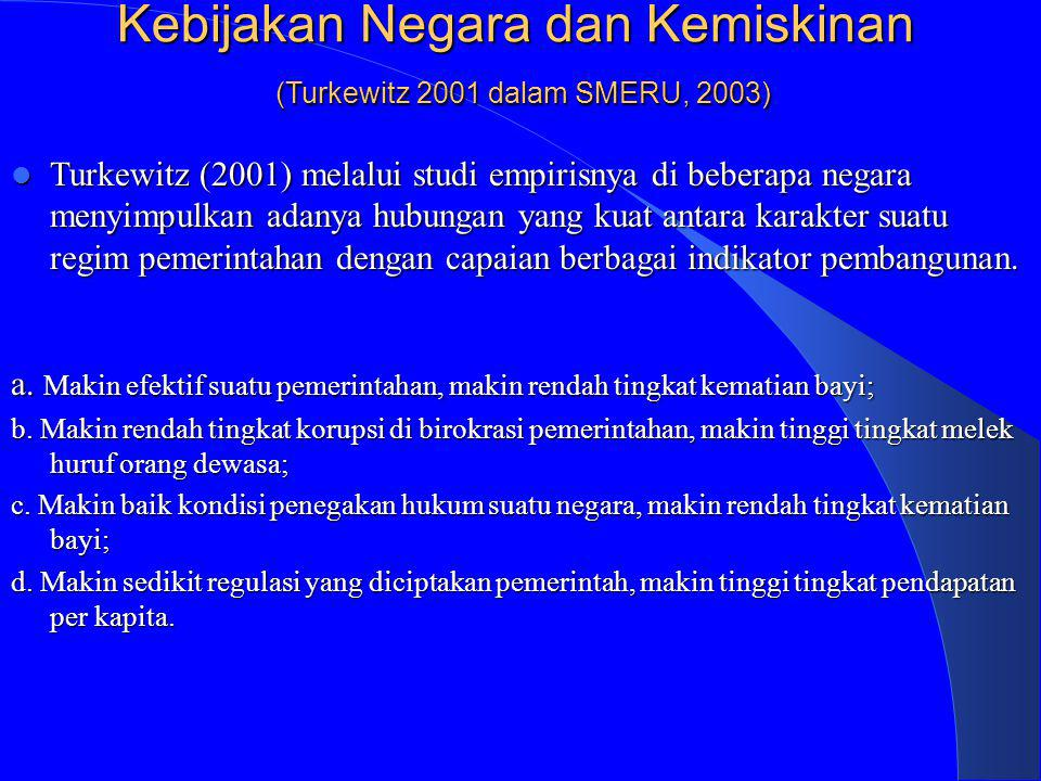 Kebijakan Negara dan Kemiskinan (Turkewitz 2001 dalam SMERU, 2003) Turkewitz (2001) melalui studi empirisnya di beberapa negara menyimpulkan adanya hu