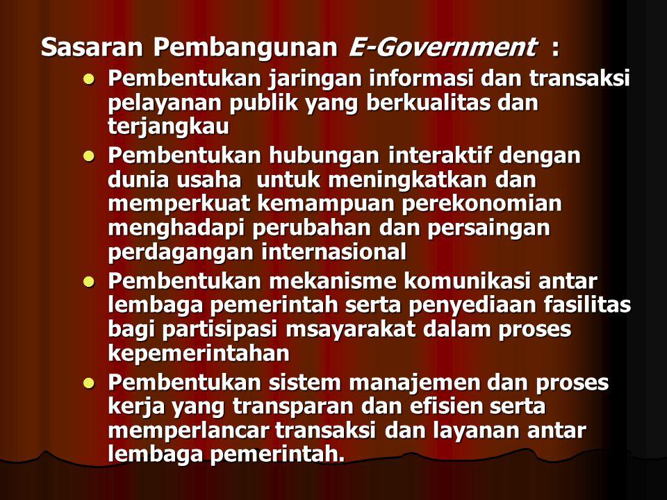 Sasaran Pembangunan E-Government : Pembentukan jaringan informasi dan transaksi pelayanan publik yang berkualitas dan terjangkau Pembentukan jaringan