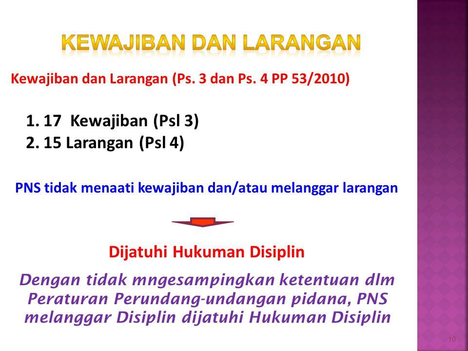 10 Kewajiban dan Larangan (Ps. 3 dan Ps. 4 PP 53/2010) 1.17 Kewajiban (Psl 3) 2.15 Larangan (Psl 4) PNS tidak menaati kewajiban dan/atau melanggar lar
