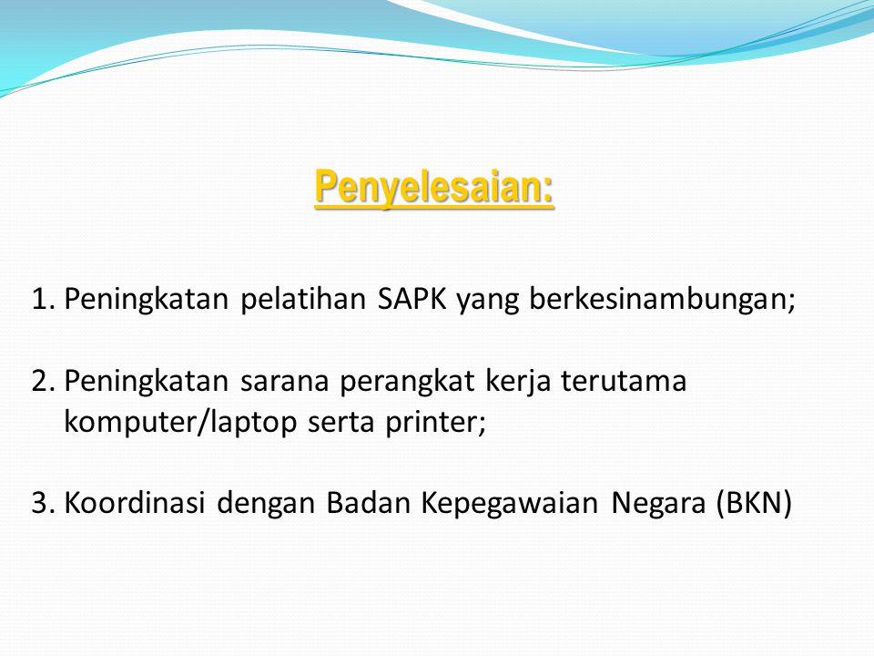 Penyelesaian: 1.Peningkatan pelatihan SAPK yang berkesinambungan; 2.Peningkatan sarana perangkat kerja terutama komputer/laptop serta printer; 3.Koord