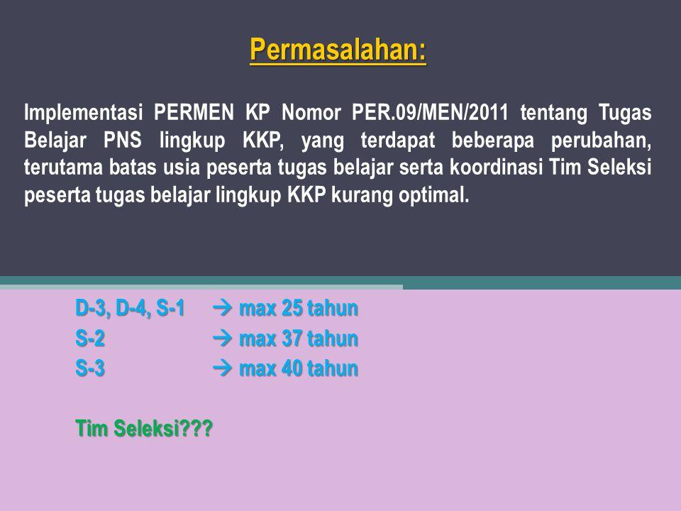 Permasalahan: Permasalahan: Implementasi PERMEN KP Nomor PER.09/MEN/2011 tentang Tugas Belajar PNS lingkup KKP, yang terdapat beberapa perubahan, teru