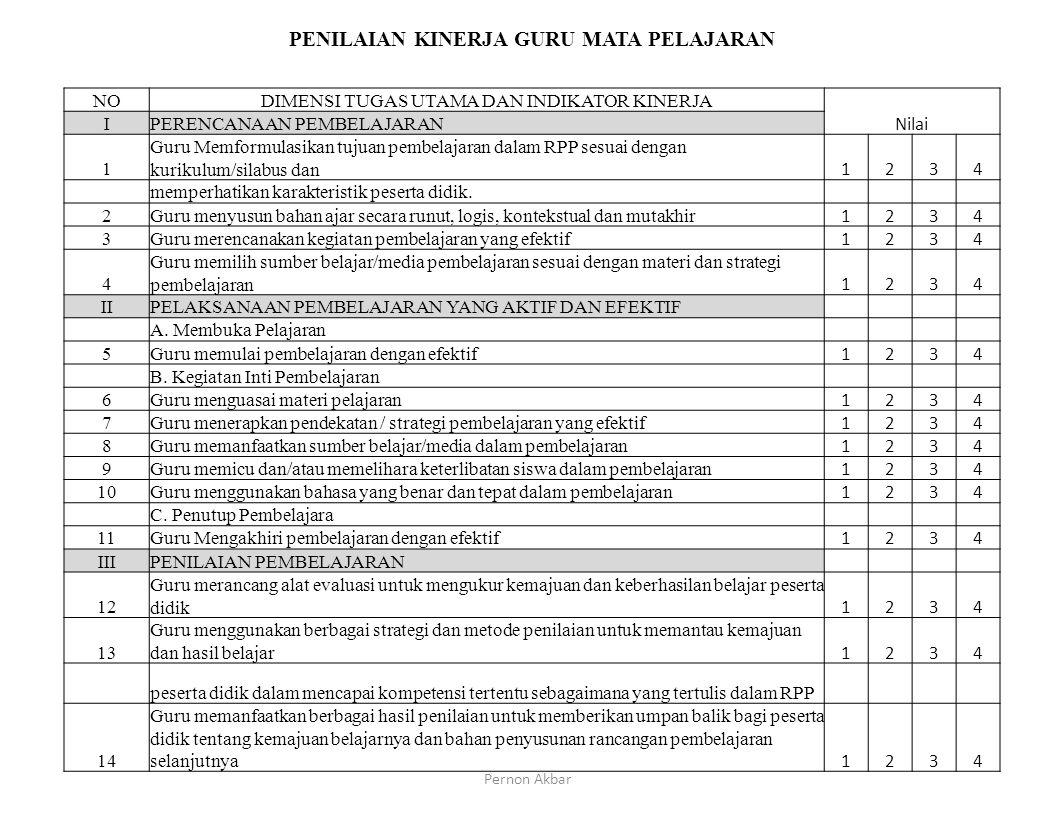 KriteriaNilai Kompetensi 1 : Menguasai teori dan praksis pendidikan1234 Kompetensi 2 : Mengaplikasikan perkembangan fisiologis dan psikologis serta pr