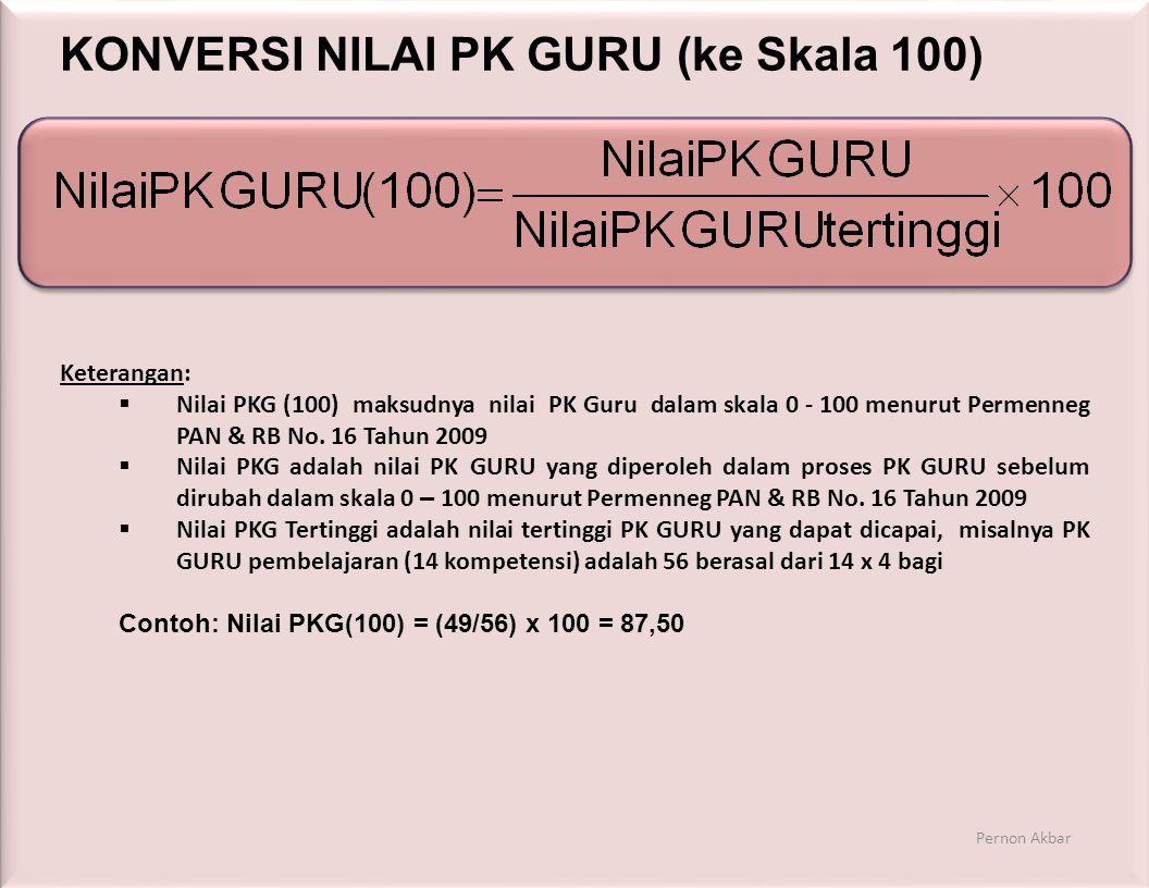 KONVERSI NILAI PK GURU (ke Skala 100) Keterangan:  Nilai PKG (100) maksudnya nilai PK Guru dalam skala 0 - 100 menurut Permenneg PAN & RB No.