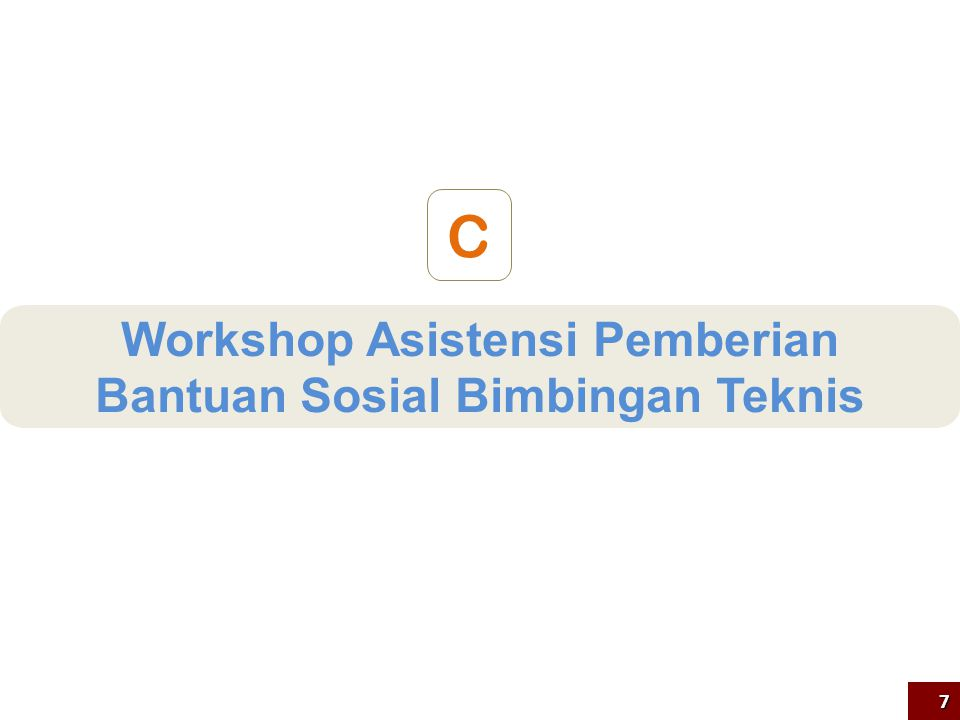 Workshop Asistensi Pemberian Bantuan Sosial Bimtek Implementasi Kurikulum 2013 SMA VariabelKeterangan Peserta885 Kepala SMA PelaksanaanDibagi dalam 7 region: a.Bandung:164 org (Jabar, Banten, Riau, dan Kepri) b.Jakarta:156 org (DKI, Sumbar, Sumsel, Jambi, Babel, Lampung, dan Bengkulu) c.Solo:148 org(DIY, Jateng, Kalbar, Kalteng, dan Kaltim) d.Surabaya:145 org(Jatim, Bali, NTB, dan NTT) e.Medan:105 org(Sumut dan Aceh) f.Makassar:127 org(Sulsel, Sulut, Sultra, Sulteng, Grtalo, Sulbar, Maluku, dan Malut) g.Jayapura: 40 org(Papua dan Papua Barat) Waktu3 hari FasilitatorDirektorat PSMA dan Badan PSDMPKPM MateriStrategi pelaksanaan bimtek, penyusunan RAB dan penggunaan dana bansos OutputPenandatanganan MoU bansos 8