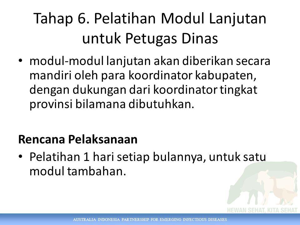AUSTRALIA INDONESIA PARTNERSHIP FOR EMERGING INFECTIOUS DISEASES Tahap 6. Pelatihan Modul Lanjutan untuk Petugas Dinas modul-modul lanjutan akan diber