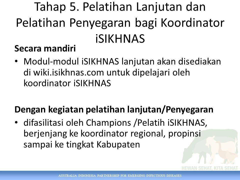 AUSTRALIA INDONESIA PARTNERSHIP FOR EMERGING INFECTIOUS DISEASES Tahap 5. Pelatihan Lanjutan dan Pelatihan Penyegaran bagi Koordinator iSIKHNAS Secara