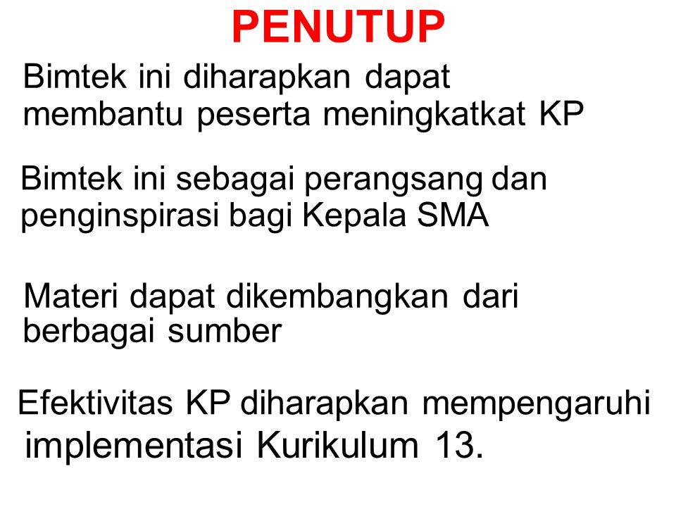 Esensi KP adalah: 1. Mengubah pola pikir (Adm ke KP) 2. Menetapkan visi pembelajaran 5. Membina kemitraan 4. Menindaklanjuti penilaian kinerja 6. Menc