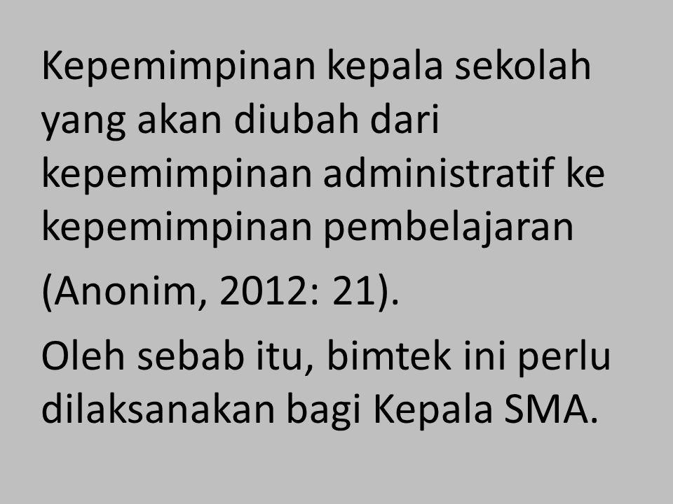 Kepemimpinan kepala sekolah yang akan diubah dari kepemimpinan administratif ke kepemimpinan pembelajaran (Anonim, 2012: 21).