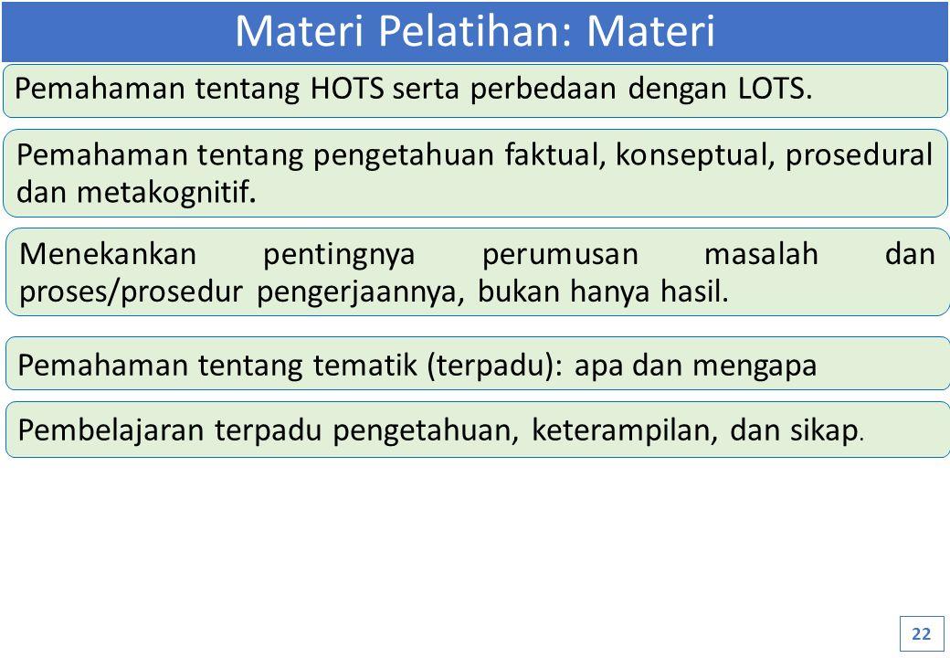 Pemahaman tentang HOTS serta perbedaan dengan LOTS.