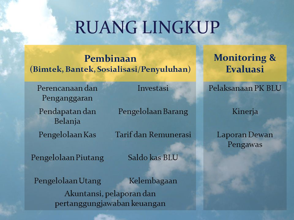 RUANG LINGKUP Pembinaan (Bimtek, Bantek, Sosialisasi/Penyuluhan) Monitoring & Evaluasi Perencanaan dan Penganggaran InvestasiPelaksanaan PK BLU Pendap