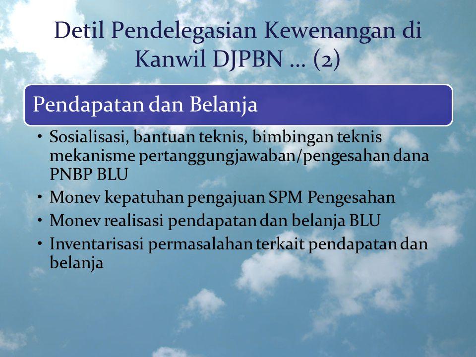 Detil Pendelegasian Kewenangan di Kanwil DJPBN … (2) Pendapatan dan Belanja Sosialisasi, bantuan teknis, bimbingan teknis mekanisme pertanggungjawaban