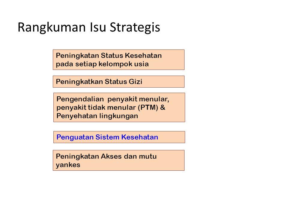 Rangkuman Isu Strategis Peningkatan Status Kesehatan pada setiap kelompok usia Peningkatkan Status Gizi Pengendalian penyakit menular, penyakit tidak