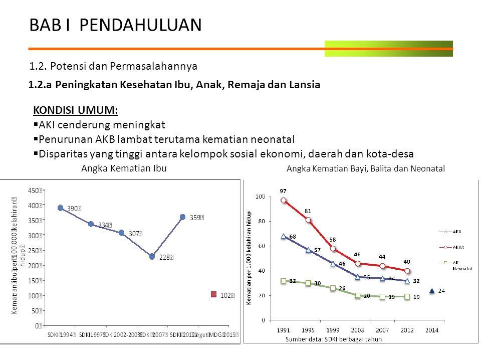 BAB I PENDAHULUAN 1.2. Potensi dan Permasalahannya 1.2.a Peningkatan Kesehatan Ibu, Anak, Remaja dan Lansia KONDISI UMUM:  AKI cenderung meningkat 