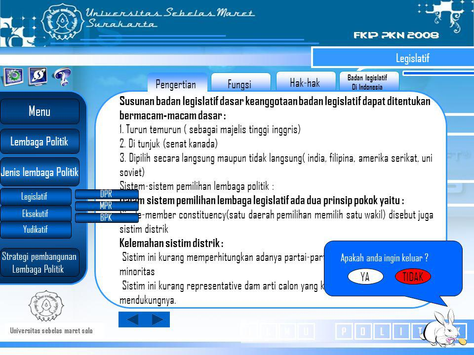 Badan legislatif Di Indonesia Hak-hak Fungsi Pengertian Legislatif Susunan badan legislatif dasar keanggotaan badan legislatif dapat ditentukan bermacam-macam dasar : 1.