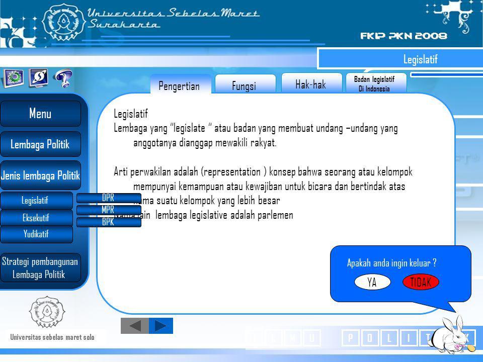 Badan legislatif Di Indonesia Hak-hak Fungsi Legislatif Lembaga yang legislate atau badan yang membuat undang –undang yang anggotanya dianggap mewakili rakyat.