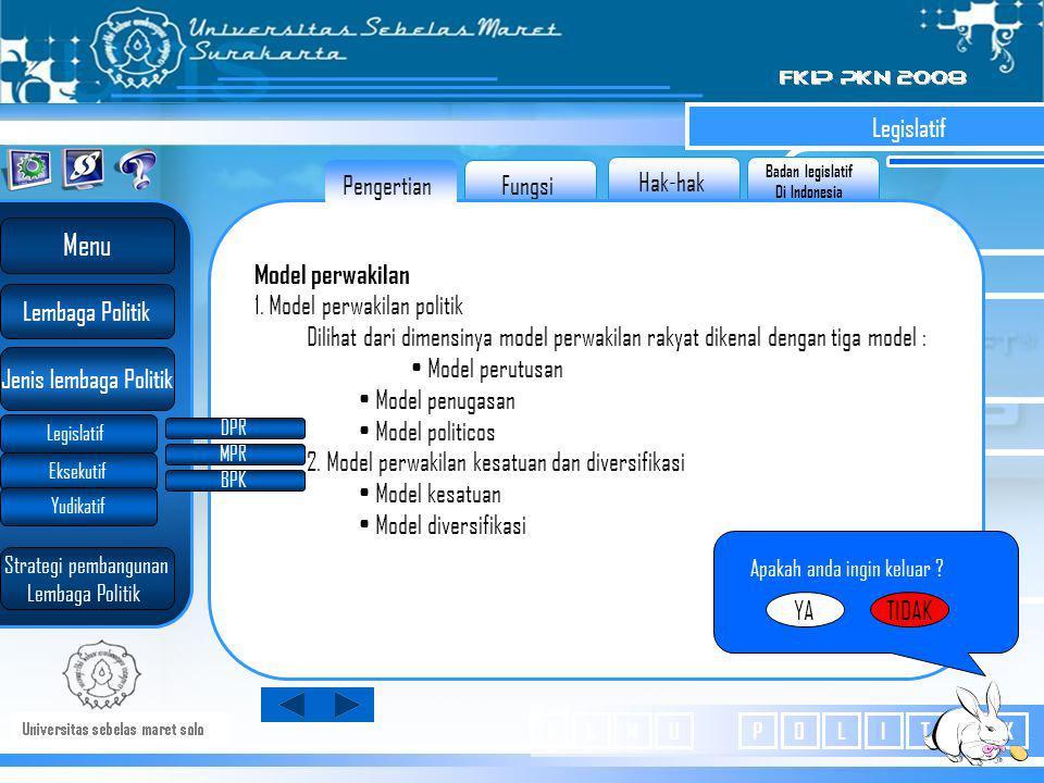 Badan legislatif Di Indonesia Hak-hak Fungsi Legislatif Model perwakilan 1.