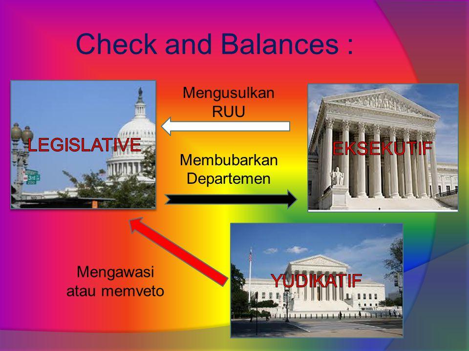 Check and Balances : Mengusulkan RUU Membubarkan Departemen Mengawasi atau memveto
