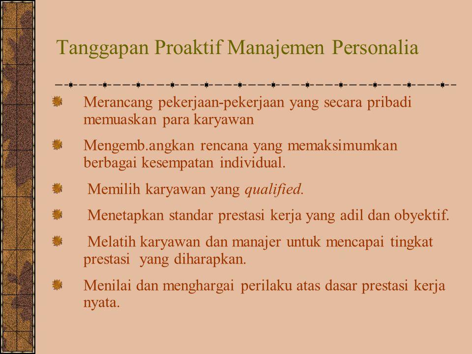 Tanggapan Proaktif Manajemen Personalia Merancang pekerjaan-pekerjaan yang secara pribadi memuaskan para karyawan Mengemb.angkan rencana yang memaksim