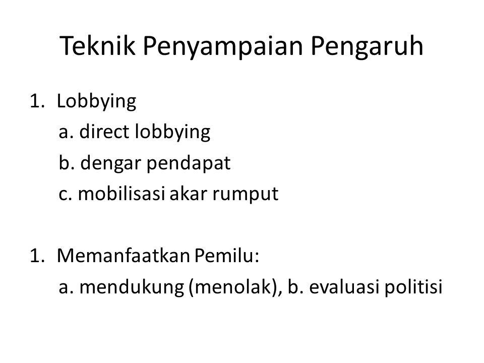 Teknik Penyampaian Pengaruh 1.Lobbying a. direct lobbying b. dengar pendapat c. mobilisasi akar rumput 1.Memanfaatkan Pemilu: a. mendukung (menolak),