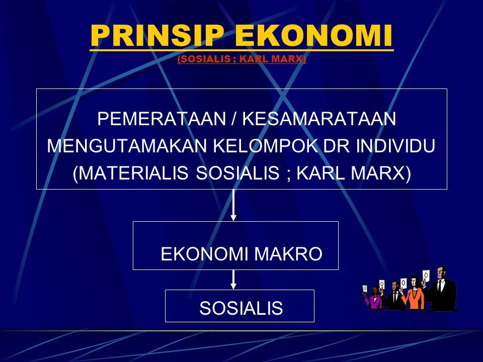 PRINSIP EKONOMI (SOSIALIS ; KARL MARX) PEMERATAAN / KESAMARATAAN MENGUTAMAKAN KELOMPOK DR INDIVIDU (MATERIALIS SOSIALIS ; KARL MARX) EKONOMI MAKRO SOS