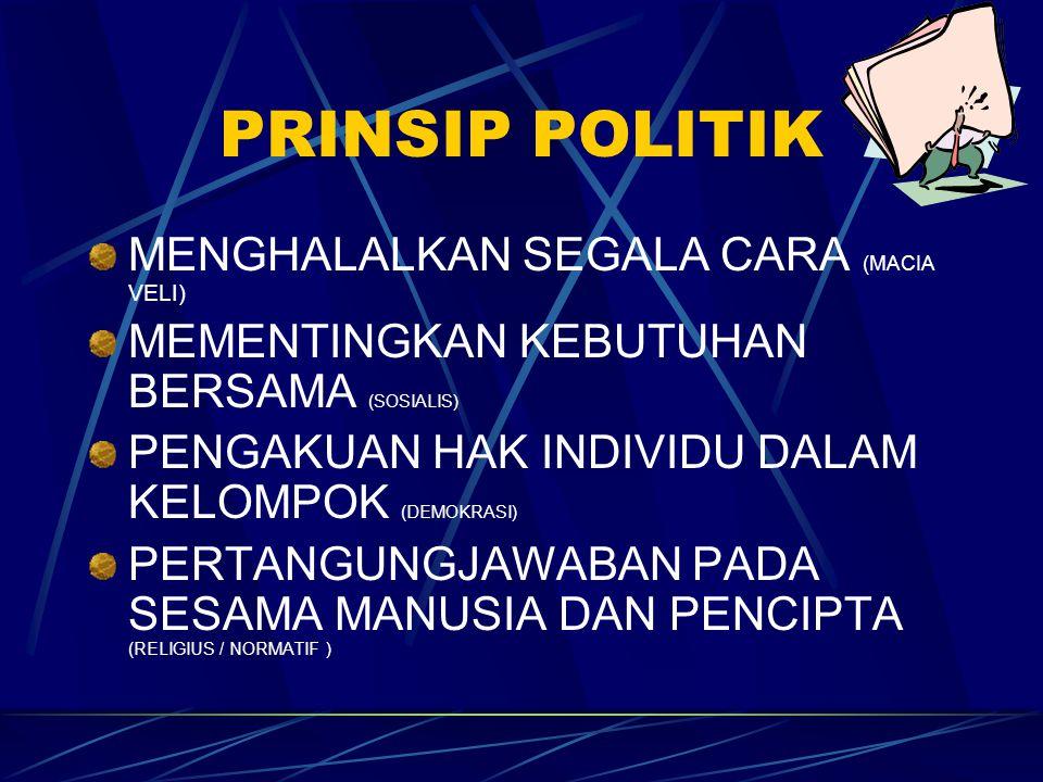 PRINSIP POLITIK MENGHALALKAN SEGALA CARA (MACIA VELI) MEMENTINGKAN KEBUTUHAN BERSAMA (SOSIALIS) PENGAKUAN HAK INDIVIDU DALAM KELOMPOK (DEMOKRASI) PERT