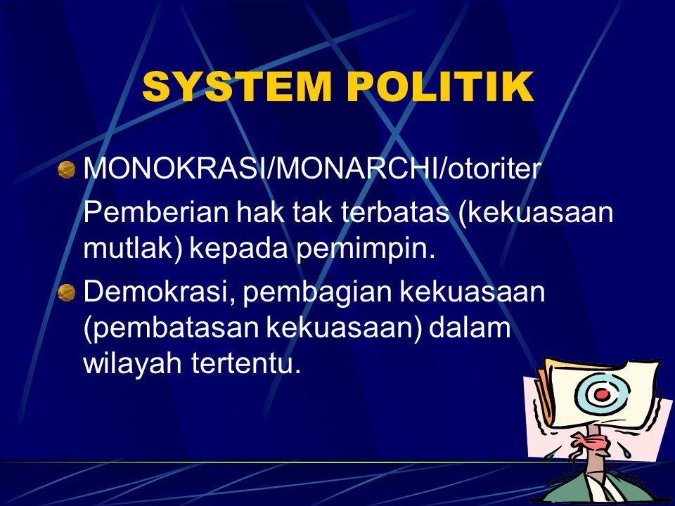 SYSTEM POLITIK MONOKRASI/MONARCHI/otoriter Pemberian hak tak terbatas (kekuasaan mutlak) kepada pemimpin. Demokrasi, pembagian kekuasaan (pembatasan k