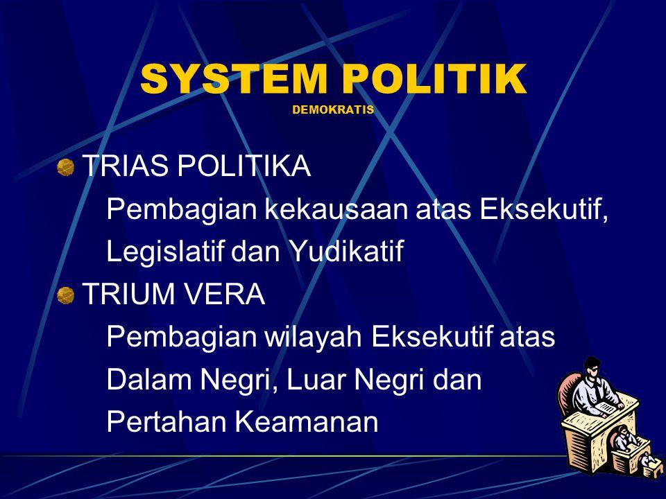 SYSTEM POLITIK DEMOKRATIS TRIAS POLITIKA Pembagian kekausaan atas Eksekutif, Legislatif dan Yudikatif TRIUM VERA Pembagian wilayah Eksekutif atas Dala