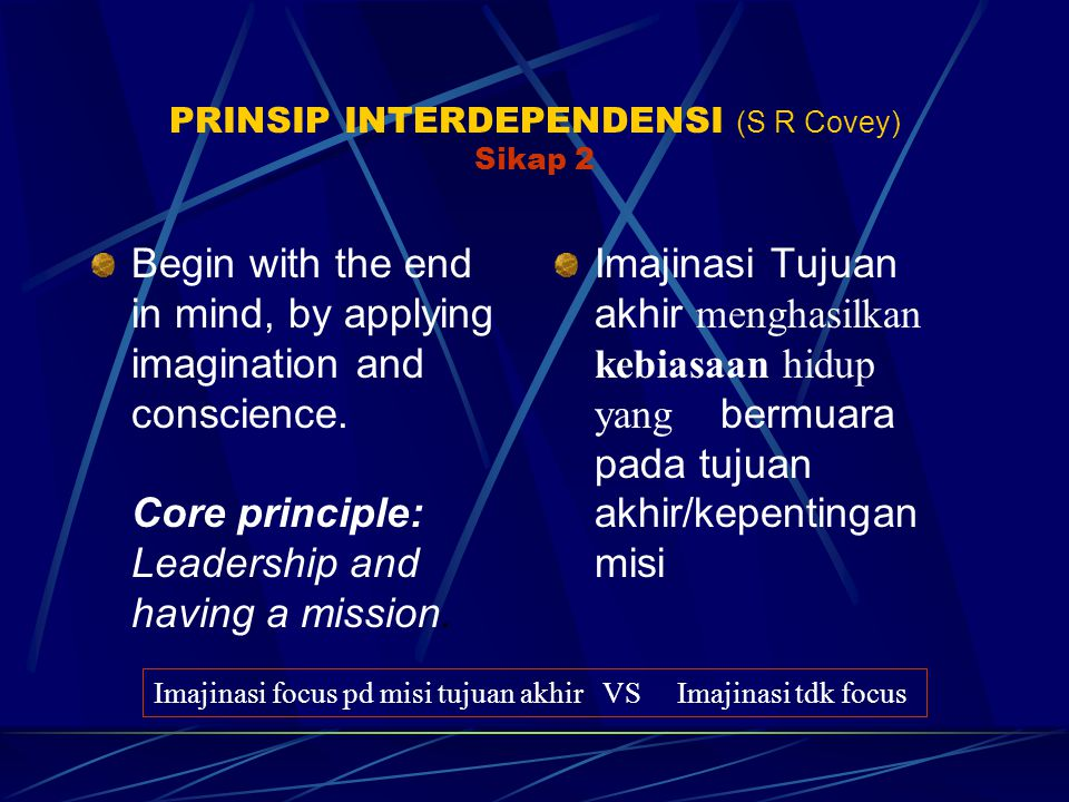 PRINSIP INTERDEPENDENSI (S R Covey) Sikap 2 Begin with the end in mind, by applying imagination and conscience.