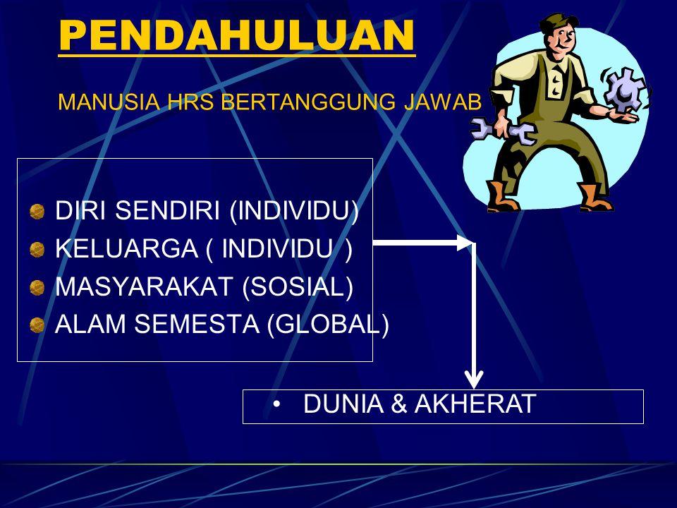 PENDAHULUAN MANUSIA HRS BERTANGGUNG JAWAB DIRI SENDIRI (INDIVIDU) KELUARGA ( INDIVIDU ) MASYARAKAT (SOSIAL) ALAM SEMESTA (GLOBAL) DUNIA & AKHERAT