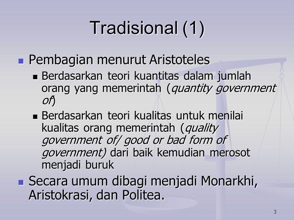 4 Tradisional (2) Monarkhi diperintah oleh satu orang (kuantitas) yang jika kualitasnya merosot menjadi tyrany atau dictatuur.