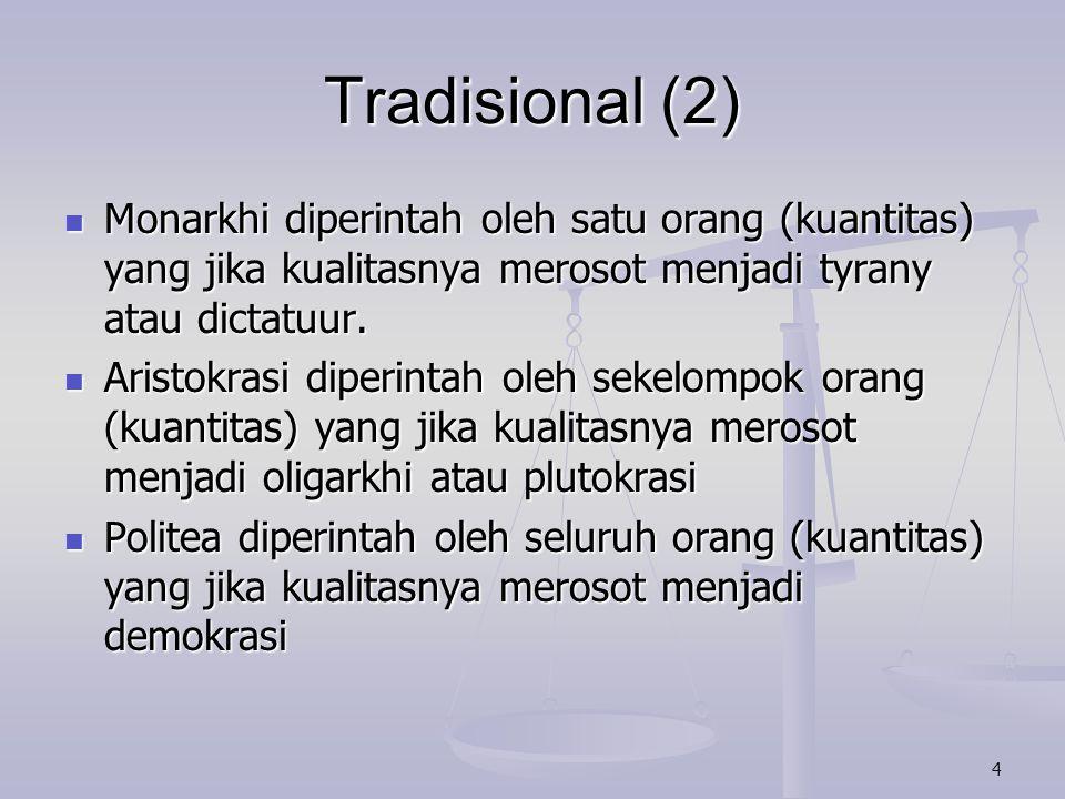 5 Tradisional (3) Teori ini banyak dianut oleh sarjana lain, salah satunya Polybios.