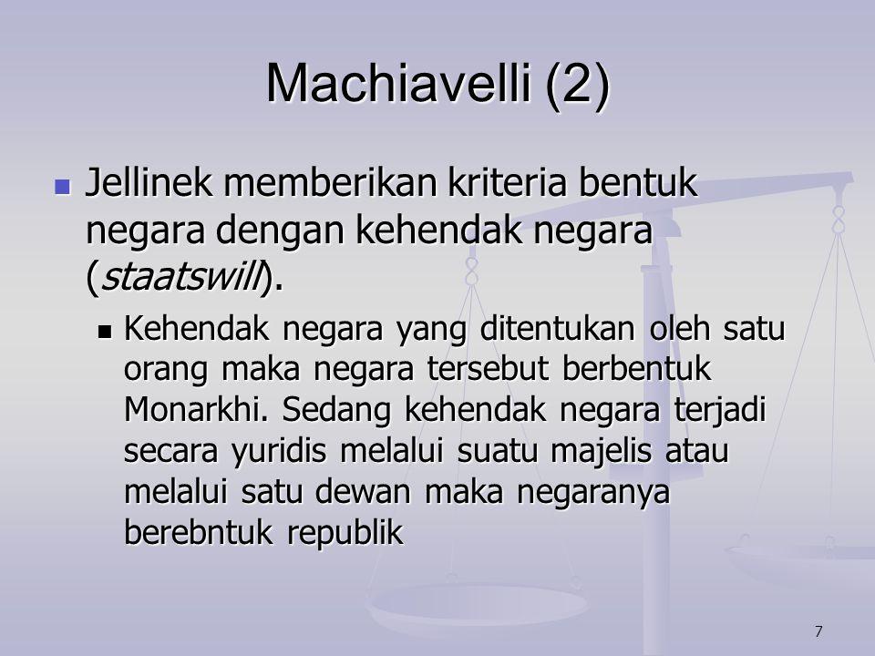 8 Machiavelli (3) Duguit menetapkan kriteria bentuk negara dengan cara pengangkatan Duguit menetapkan kriteria bentuk negara dengan cara pengangkatan Kepala negara diangkat secara urun temurun maka bentuk negaranya Monarkhi.